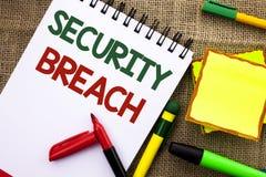 Note d'écriture montrant la violation de la sécurité Accès non autorisé de présentation de photo d'affaires aux dispositifs d'app Images stock
