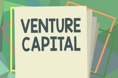 Note d'écriture montrant le capital-risque Le financement de présentation de photo d'affaires a fourni par des entreprises à la p illustration de vecteur