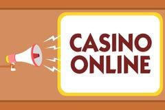 Note d'écriture montrant le casino en ligne Jeu de présentation Bet Lotto High Stakes Man royal de jeu de poker d'ordinateur de p illustration de vecteur
