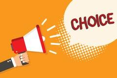 Note d'écriture montrant le choix Acte de présentation de photo d'affaires du choix entre deux possibilités ou plus avec propre g illustration libre de droits