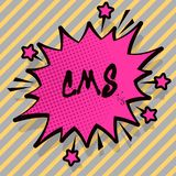 Note d'écriture montrant le CMS Modification de présentation d'assistances techniques de gestion de contenu de photo d'affaires d illustration de vecteur