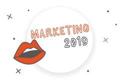 Note d'écriture montrant le marketing 2019 Le message publicitaire de présentation de photo d'affaires tend pour l'événement prom illustration de vecteur