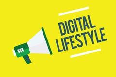 Note d'écriture montrant le mode de vie de Digital Travail de présentation de photo d'affaires au-dessus du monde d'Internet des  illustration de vecteur