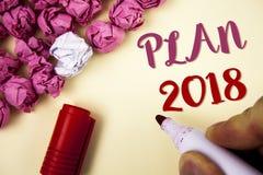 Note d'écriture montrant le plan 2018 Buts provocants de présentation d'idées de photo d'affaires pour que la motivation de nouve Photos libres de droits
