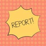Note d'écriture montrant le rapport Compte parlé ou écrit de l'information de présentation de photo d'affaires de cri perçant de  illustration libre de droits