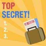 Note d'écriture montrant le top secret Les informations les plus élevées de présentation de dossiers fortement confidentiels de s illustration de vecteur