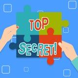 Note d'écriture montrant le top secret Les informations les plus élevées de présentation de dossiers fortement confidentiels de s illustration stock
