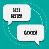 Note d'écriture montrant mieux mieux bon La photo d'affaires présentation améliorent vous-même choisir la meilleure décision bien illustration stock