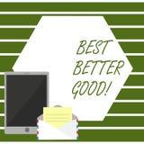 Note d'écriture montrant mieux mieux bon La photo d'affaires présentation améliorent vous-même choisir la meilleure décision bien illustration libre de droits