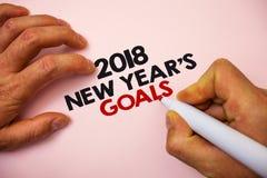 Note d'écriture montrant 2018 nouvelles années de buts Liste de résolution de photo d'affaires de choses de présentation que vous Image libre de droits
