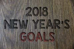 Note d'écriture montrant 2018 nouvelles années de buts Liste de résolution de photo d'affaires de choses de présentation que vous Images libres de droits