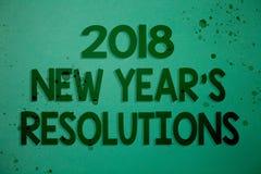 Note d'écriture montrant 2018 nouvelles années \ 'résolutions de S Liste de présentation de photo d'affaires de buts ou de cibles Photographie stock libre de droits