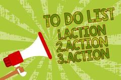 Note d'écriture montrant pour faire la liste 1 Action 2 Action 3 action La photo d'affaires présentant mettant des priorités de j Images stock