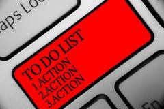 Note d'écriture montrant pour faire la liste 1 Action 2 Action 3 action Photo d'affaires présentant mettant des priorités de jour Images stock