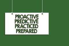 Note d'écriture montrant prévisionnel proactif pratiqué préparé Accrocher de présentation de gestion de stratégies de préparation images stock