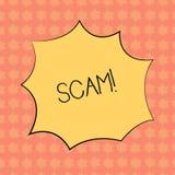 Note d'écriture montrant Scam Photo d'affaires présentant les personnes malhonnêtes de tour de fraude d'acte pour faire le cri pe illustration libre de droits