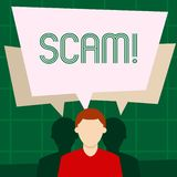 Note d'écriture montrant Scam Photo d'affaires présentant les personnes malhonnêtes de tour de fraude d'acte pour gagner l'argent illustration de vecteur