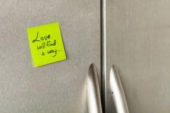 Note d'amour de réfrigérateur Image libre de droits
