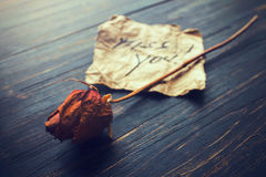 Note d'amour sur un vieux papier parcheminé Photos libres de droits