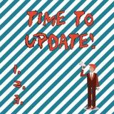 Note d'?criture montrant l'heure de mettre ? jour Acte de pr?sentation de photo d'affaires mettant ? jour quelque chose quelqu'un illustration de vecteur