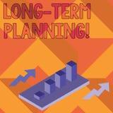 Note d'?criture montrant la planification ? long terme Photo d'affaires pr?sentant ?tablissant des buts que vous avez compt? r?al illustration stock