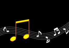 Note d'or de musique Photos stock