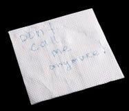 Note d'esprit de serviette Images libres de droits