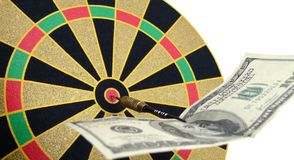 Note on a dart board Stock Images