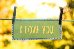 note de carte postale je t'aime images libres de droits