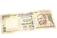 Note de cinq cents roupies (devise indienne) images stock