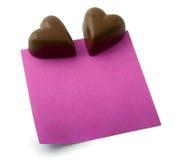 note de coeur de chocolat Images libres de droits