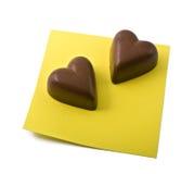 note de coeur de chocolat image stock