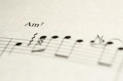 Note de musique de feuille Photos libres de droits
