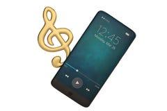 Note de musique et concept d'audio de Smart-téléphone illustration 3D illustration libre de droits