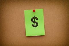Note de papier avec le symbole dollar Images libres de droits