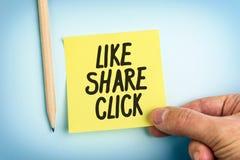Note de papier jaune avec des mots comme le clic de part Photographie stock libre de droits