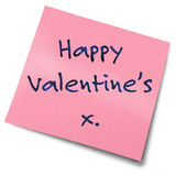 Note de post-it de Valentines Image stock