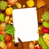 Note de recette de vecteur avec la conception exotique de fruits Illustration Libre de Droits