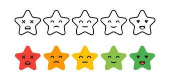 Note de satisfaction Placez des icônes d'étoile de retour sous la forme d'émotions Excellent, bon, normal, mauvais, terrible illustration libre de droits