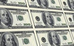 100 note del dollaro stampate sullo strato Fotografie Stock Libere da Diritti