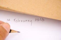 Note del giorno del biglietto di S. Valentino del 14 febbraio. Fotografie Stock