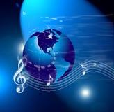 Note del mondo di musica del Internet Fotografie Stock Libere da Diritti