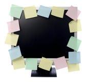 Note di carta sul video del calcolatore Immagini Stock Libere da Diritti
