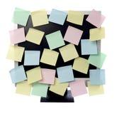 Note di carta sul video del calcolatore Fotografia Stock