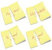 Note di carta violente con ti amo le parole Fotografia Stock