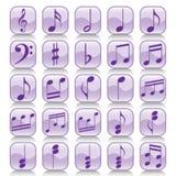 Note di impostare-Musica dell'icona Fotografia Stock