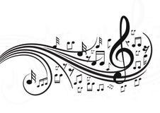 Note di musica con le onde fotografia stock libera da diritti