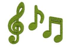 Note di musica da erba, rappresentazione 3D Fotografia Stock