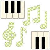 Note di musica del tessuto e chiavi sveglie del piano come applique nello stile elegante misero illustrazione di stock