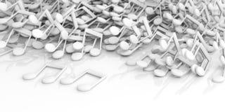 note di musica della rappresentazione 3d su fondo bianco Fotografia Stock Libera da Diritti